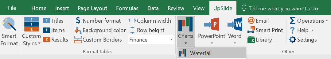 UpSlide Smart Format tool Financial Charts and Graphs in Excel