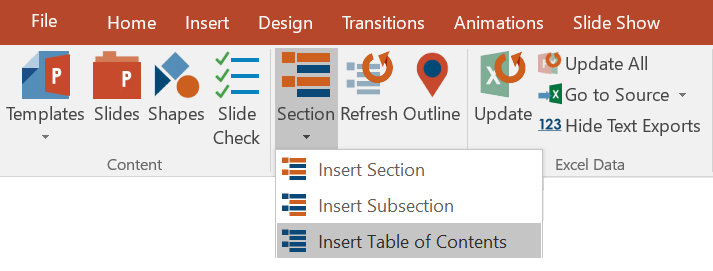 create a table of contents in powerpoint, Presentation templates