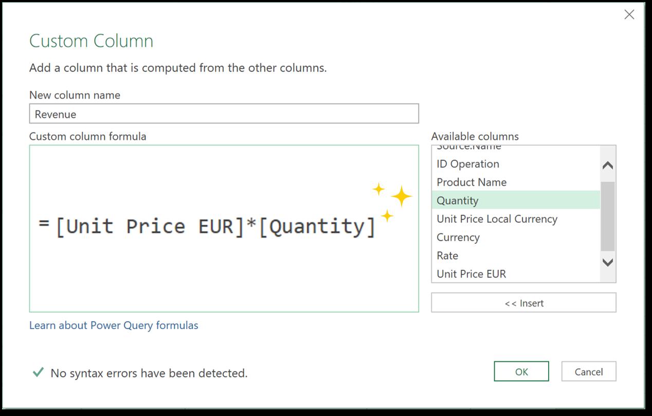 Power query generate Revenue column formula
