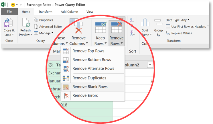 Power Query remove blank rows