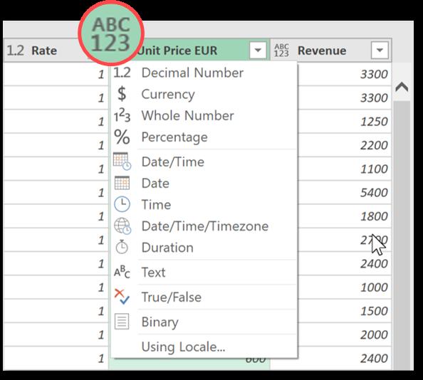 Power query set column decimal number
