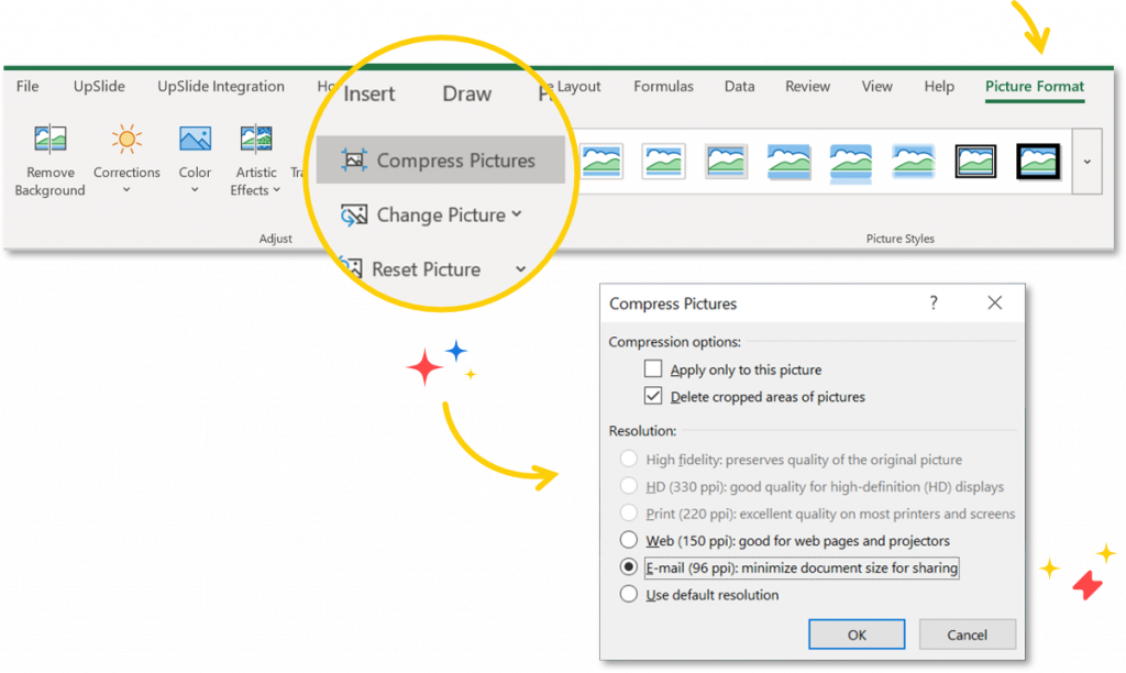 reduce excel file size compress pictures in excel